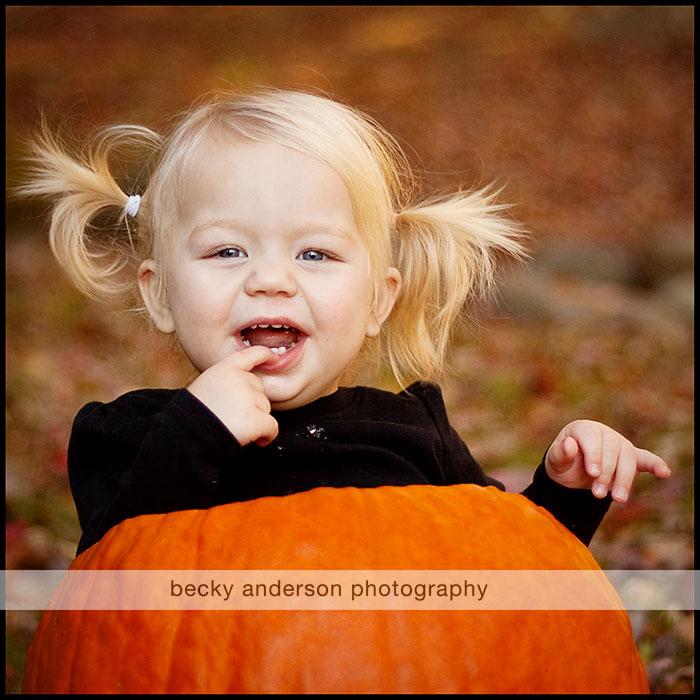 Leah in a pumpkin