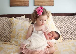 big sister little sister newborn photo
