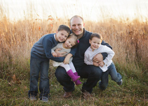 dad and three kids
