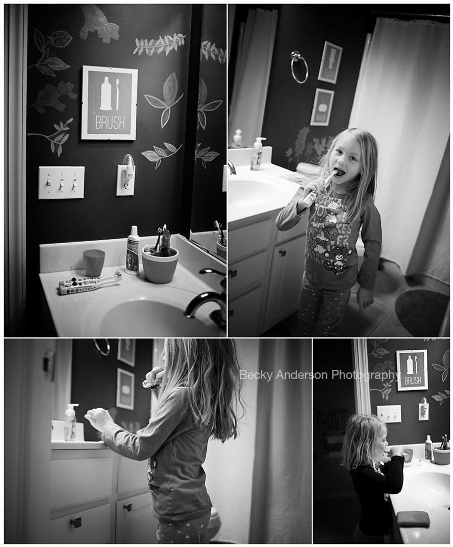morning routine of brushing teeth before school