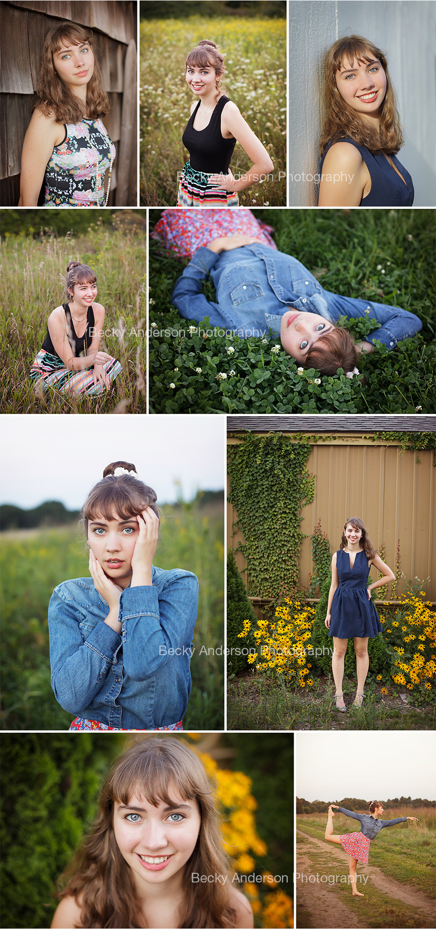 Beautiful Hannah's senior portraits by Becky Anderson Photography  in downtown Kalamazoo and a beautiful field setting.