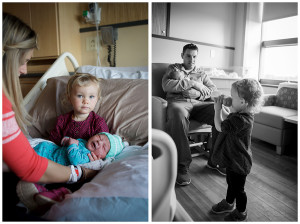 big sister meeting newborn brother at Bronson hospital