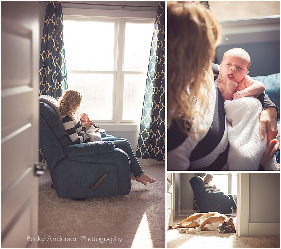 Lifestyle newborn images - beautiful mom with baby in rocker